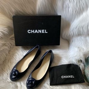Chanel Leather Camelia Flower Ballet Flats